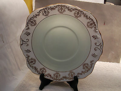 Sutherland China Twin-Handled Bread Plate Pale Green Centre Gold Pattern