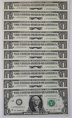 $10 Uncirculated Currency - (Lot Of 10) Sequentially Numbered 2013 Us $1 Bills