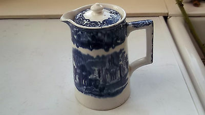 Vintage George Jones Blue & White  Chocolate / Water Jug In Abbey Pattern