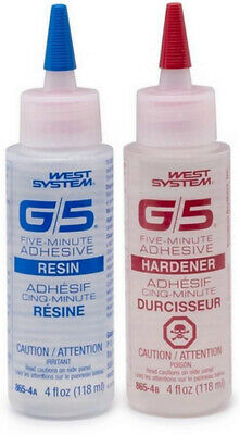 West System G/5 Five-Minute Adhesive 2-Part Resin/Hardener Epoxy System (4oz)