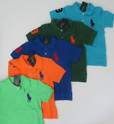 NWT Ralph Lauren Toddler Boys SS Big Pony Solid Mesh Polo Shirt 2/2t 3t 4/4t NEW