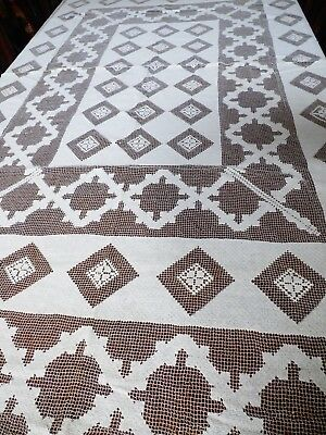 Antique VTG Hand Made knitted crochet Filet Net Lace Tablecloth Ecru 58x74