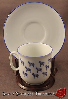 Blue & Yellow Swedish Sweden Dala Horse Porcelain Cup and Saucer