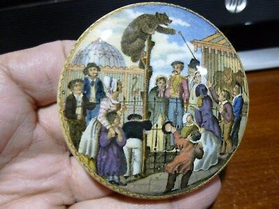 ca 1900 Circus Bear  on a Pole Lions in Cage English Pot Lid Antique