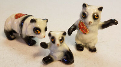 Set 3 Miniature Panda Bear Fine Bone China Figures 1960s