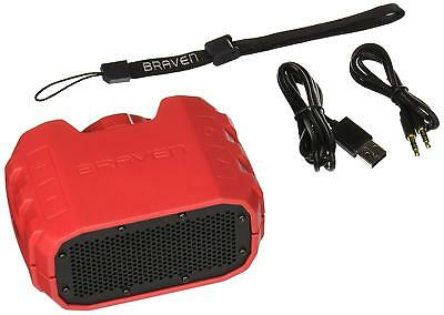 BRAVEN Portable Wireless Bluetooth Speaker 1400 mAh Power Bank Charger- Red/Grey