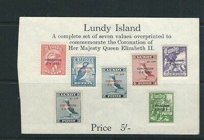 LUNDY 1953 CORANATION overprints on the PUFFIN stamps (Complete set of) VF MLH