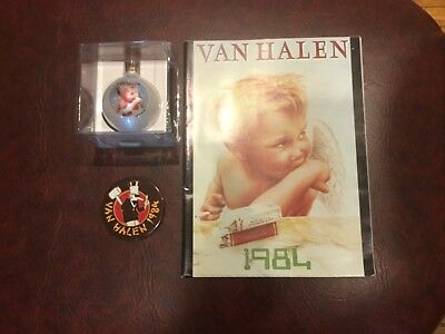Lot of 3 RARE Van Halen Official 1984 Tour Prog Poster Button & Limited Ornament
