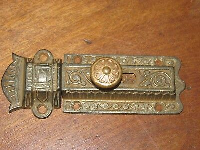 Ornate Antique Eastlake Victorian Cast Iron Slide Bolt Lock & Keeper