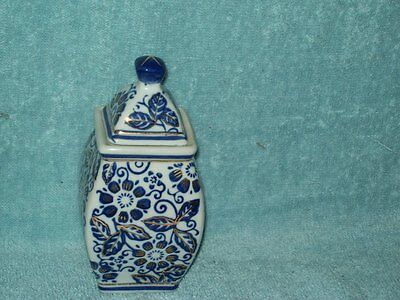 Blue & White Vase with Lid & Gold trim