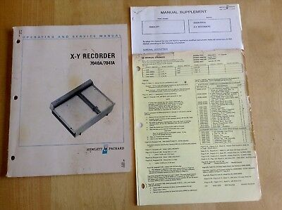 Hewlett Packard  X-Y Recorder 7040A/7041A Operating & Service Manual HP
