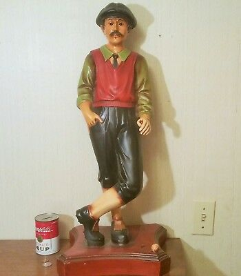 "27"" GOLF STATUE vtg flapper man shoes ball hat sox lawn jockey door display art"