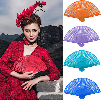 Vintage Bamboo Folding Hand Held Flower Fan Chinese Dance Party Bamboo Fans