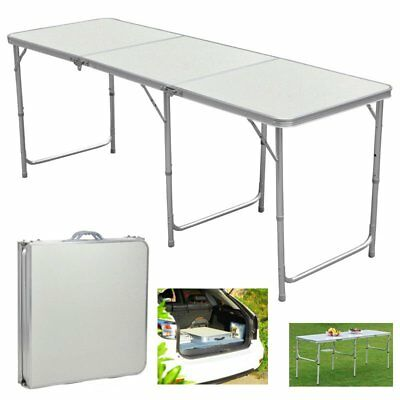 6 FT Portable Folding Trestle Table Heavy Duty Plastic Camping Party Picnic BBQ