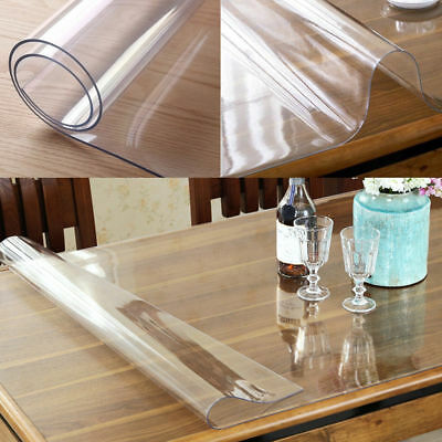 PVC Wipe Clean Transparent Tablecloth Mat Glass Effect Table Protection Cover