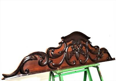 GOTHIC SCROLL LEAVES PEDIMENT Antique french hand carved wood salvaged crest