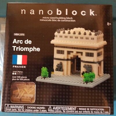 Arc De Triomphe Nanoblock Miniature Building Blocks New Sealed Pk 58334