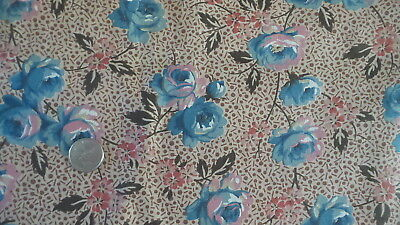 """Vintage Cotton Fabric BLUE & PINK ROSES ON BROWN DOT FLOWERS  1 Yd/36"""" Wide"""