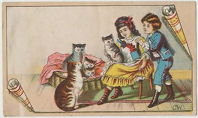 Adorable Girl and Boy with Cats and Kittens - Victorian Trade Card 1880's