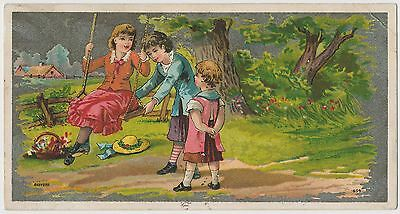Three Beautiful Children Playing - Victorian Trade Card ca.1885