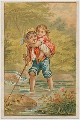 Boy Playing with His Young Sister - Victorian Trade Card 1880's