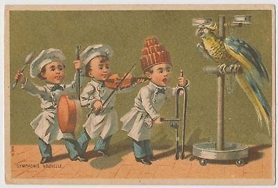 Symphonie Nouvelle  - Boys and Parrot Symphony - Victorian Trade Card