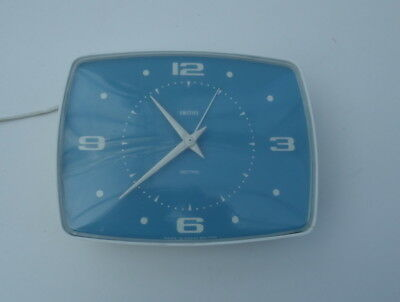 Vintage Smiths Sectric Electric Kitchen Wall Clock Working Good Blue
