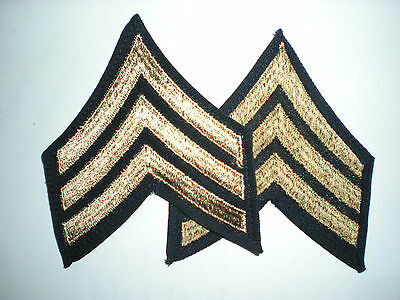 Us Army Wwii Sergeant Stripes - Original On Twill -- 1 Pair