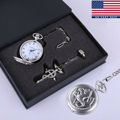 Fullmetal Alchemist Pocket Watch Metal Necklace Ring Chain Cosplay Gift USA