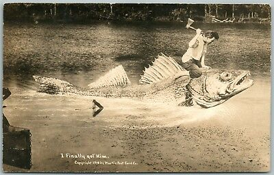 FISHING EXAGGERATED ANTIQUE REAL PHOTO PC RPPC PHOTOMONTAGE collage montage