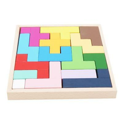 Colorful 3D Wooden Tangram Brain Teaser Puzzle Toys Tetris Game Preschool Y
