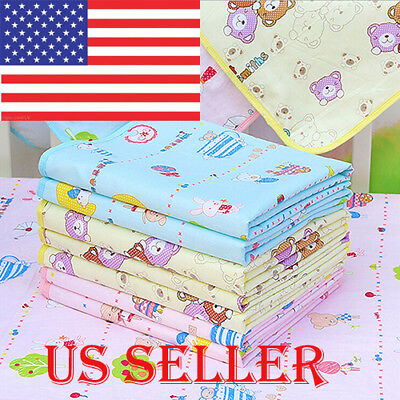 US Baby Infant Waterproof Urine Mat Diaper Nappy Kid Bedding Changing Cover Pad