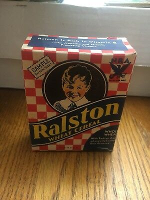 Vintage 1930's Ralston Wheat Cereal Sample Size Box With Rare NRA Symbol