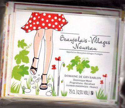 FREE SHIPPING BEAUJOLAIS NOUVEAU 2011 BEAUTIFUL LOT OF 34 FRENCH WINE LABELS