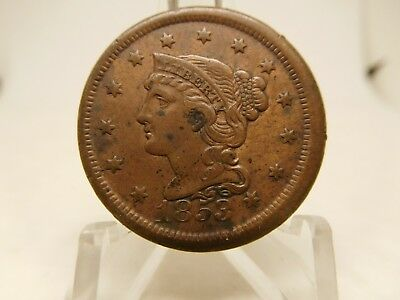 1853 US Large Cent Extra Fine Cleaned