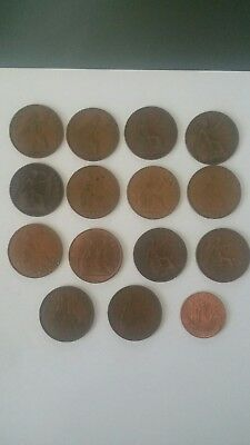 Lot of 14 different UK England ONE PENNY Coins 1918  1967 Great Britain GB cent