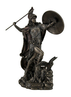 Athena Greek Goddess of Wisdom & War Throwing Javelin Bronze Finish Statue