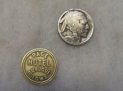 Antique  Dubuque Iowa Page Hotel Good For 5c Brass Trade Token