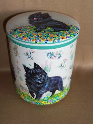 HP Schipperke porcelain JAR w/ lid container PAINTING hand painted dog ART dogs