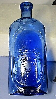 "Cobalt blue glass bottle WALFOX BRAND 6"" no cork empossed fox empty 5.6"" ᵛ"