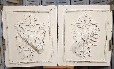 Painted cottage shabby pair farmhouse panel Antique french wooden wall plaque