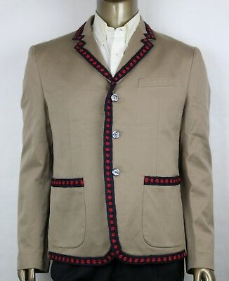 adfa7482d Gucci Men's Brown Cotton Jacket with Blue/Red Crochet Trim 3 Buttons 419939  2840