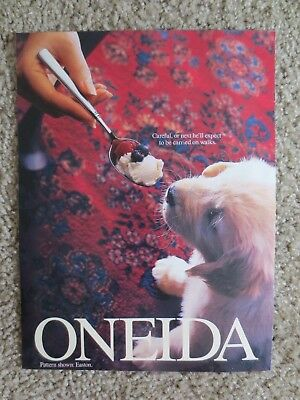Oneida Flatware  Cute Puppy Tempted by a Spoonful of Ice Cream Magazine Print Ad