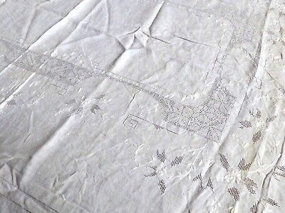VTG Madeira White Cotton Embroidery cut work Decor Accent Table Cloth 82X64