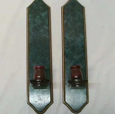 """Home Interior Homco(Set Of Two)Beautiful Green swirled Cherry Wood Sconces"""""""