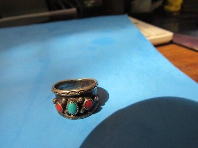 Vintage Sterling Silver Native American Turquoise And Coral  Ring