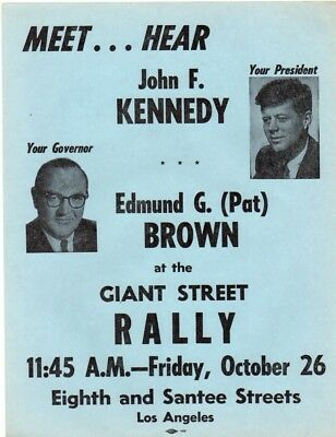 1962 Scarce John F Kennedy Cancelled Rally - Cuban Missile Crisis