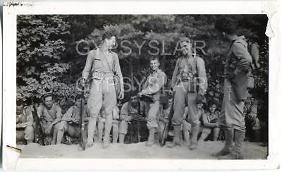 Orig WWII Photo US Army Infantry Soldiers w Backpacks Armed w M1 Rifles Weapons