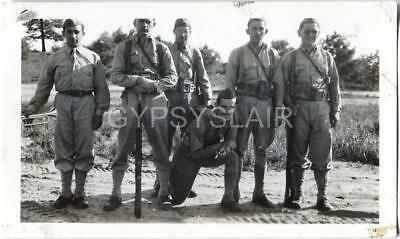 Orig WWII Photo BUGLER w US Army Infantry Soldiers Armed w M1 Rifles Gun Weapons