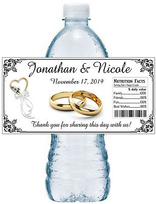 20 Personalized Wedding Bridal Shower Favors Water Bottle Labels